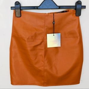 Misguided Orange Faux Leather Mini Skirt